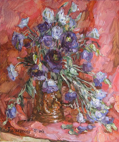 Картина синие цветы холст масло